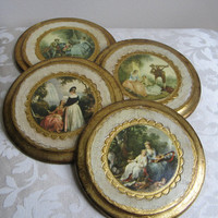 Vintage Gold Gilt Florentine Wall Art Prints Italy Round Wood Plaques, Set of 4, Formal Garden Woodlands