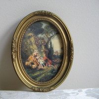Vintage Woman Man Garden Pastoral Gold Ornate Frame Wall Art