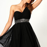 Liz Pleat front Embellished Waist One Shoulder Dress