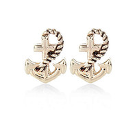 Gold tone anchor stud earrings - earrings - jewelry - women