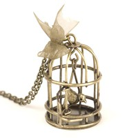 Vintage brass bird cage pendant long chain necklace vtg by 81stgeneration