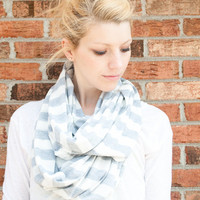 infinity scarf cowl grey striped lightweight by CThandmade