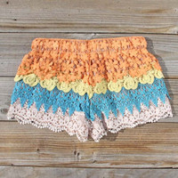 Desert Sunset Lace Shorts, Women&#x27;s Sweet Bohemian Clothing