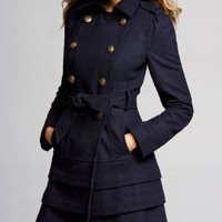Ruffled-bottom Belted Wool Trench Coat