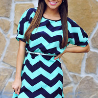 Best Of Both Worlds Dress: Mint/Navy | Hope&#x27;s