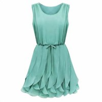 Front With Belt Elegant Sleeveless Pleated Chiffon Summer Tiny Dress: Clothing