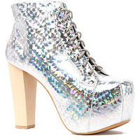 The Jeffrey Campbell Lita Hologram Shoe in Silver
