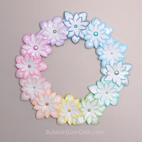 Easter Wreath Pastel Rainbow Paper Flower 12 inch Easter Decor Spring Decor