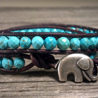 Faceted Magnesite Turquoise Double Leather Wrap Bracelet, GOOD LUCK Elephant, Shabby Chic, Bohemian