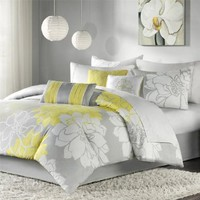Madison Park Lola 7pcs Set - Grey/Yellow - Queen: Home &amp; Kitchen