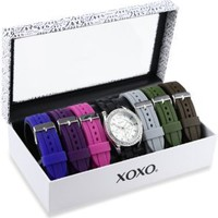 XOXO Women's XO9028 Seven Color Silicone Rubber Interchangeable Strap Set Watch: Watches: Amazon.com