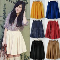 Retro High Waisted Chiffon Skirt