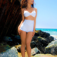 Snow white high waisted bikini swimsuit xs-XL