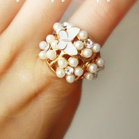 Bohemian Butterfly Pearl Ring