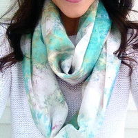 Mint Julep Watercolor Infinity Scarf