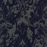 30-988 Marcel Wanders Forest Muses - Electric Blue by Marcel Wanders Blue,Graphite Damask Wallpaper