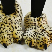 Leopard Fuzzy Lion Paw Animal Slippers [3312] size M