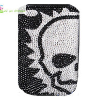 Free shipping iphone 4 case , iphone 4s case , case for Iphone 4 mobile Case handmade: Real leather full diamond skull i89050340 (custom are welcome)