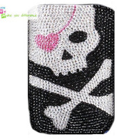 Free shipping iphone 4 case , iphone 4s case , case for Iphone 4 mobile Case handmade: Real leather full diamond skull i89050677 (custom are welcome)