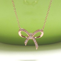 "INFINITY BOW Necklace In Rose Gold Over Sterl. Silver-16""+2 Extender"