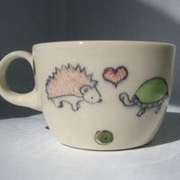 Espresso Cup Turtle Loves Hedgehog Tiny Handmade by abbyberkson