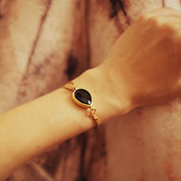 LOVE jewelry simple drop black onyx faceted jade stone gemstone bracelet gold leather cord israel