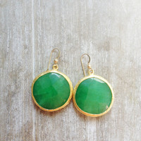 statement gemstone fashion LARGE bold earrings evening  nature green grass green candy jade stone shiny gold statment earrings israel
