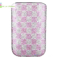 Free shipping iiphone 4 case , iphone 4s case , case for Iphone 4 mobile Case handmade: Leather full diamond grid i89048777 (custom are welcome)
