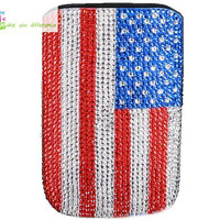 Free shipping iphone 4 case , iphone 4s case , case for Iphone 4 mobile Case handmade: Leather diamond united states flag i89048829 (custom are welcome)