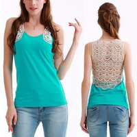 Lace Back Blue Sleeveless Top