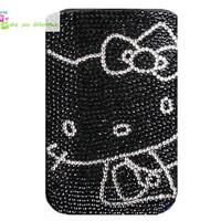 Free shipping iphone 4 case , iphone 4s case , case for Iphone 4 mobile Case handmade: leather full diamond hello kity i89048998 (custom are welcome)