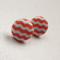 Orange & white chevron fabric button earrings