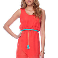 Belted Chiffon Hi-Low Dress  in Coral :: tobi