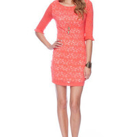 Make it Lace Forever Dress in Orange :: tobi
