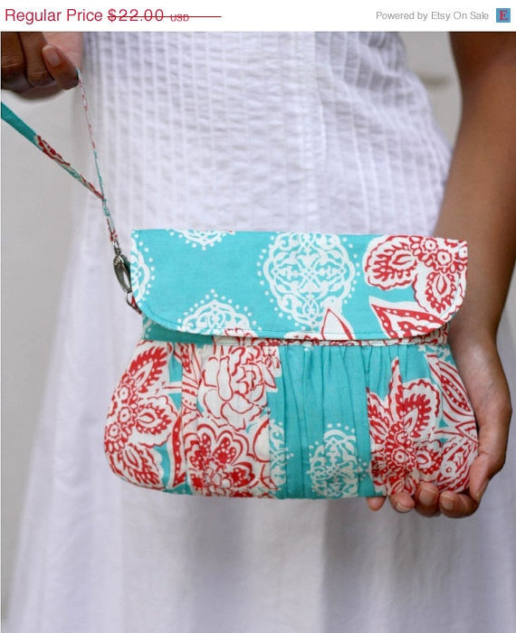 ON SALE  Pleated Wristlet Purse Aquamarine and Red Flower by Oyeta