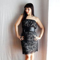 Black lace strapless dress Sizes from XS to L by AliceCloset