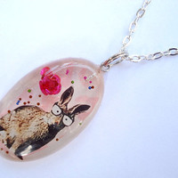 Nerd Bunny Pink Rose Resin Necklace