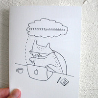 Funny Birthday Card Typing Cat Happy Birthday by SimplyCutebyKarin