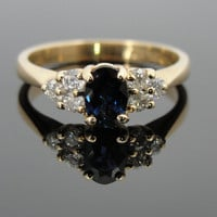 Sapphire and Diamond Cluster Ring in Yellow Gold RGSA346D