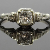 Extraordinary 18K and 14K White Gold Art Deco Square Diamond Engagement Ring - RGDI170P