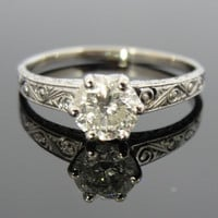 14k White Gold, .91ct Celtic Spiral Pattern Vintage Engagement Ring RGDI268d