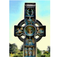 Victorian Cemetery Art, Cross of Many Colors, Religious Fine Art Print, Celtic Cross, 5x7 Virginia Fine Art Print
