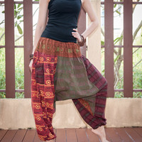 Harem Aladdin Unisex Stonewashed Patchwork Pants with Elastic Waist and Two Pockets Hippie Gypsy Boho Style (HR-10)