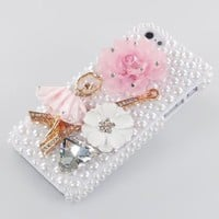 Amazon.com: New 3D Handmade Bling Eiffel Tower Pink Dance Girl & Colorful Flower Pearl Rhinestone Cover Case Hard White for Iphone 5 5s: Cell Phones & Accessories