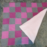 Upcycled Cashmere Baby Blanket or Throw in Pinks and Grey