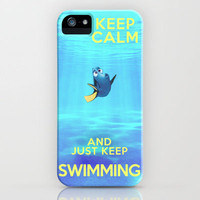 Keep Calm and Just Keep Swimming REDUX  iPhone Case by Bluebird Design | Society6