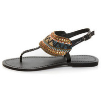 Not Rated Conquer Black Beaded Thong Sandals - $49.00