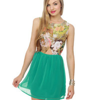 Cute Print Dress - Teal Dress - Floral Dress - &amp;#36;39.00