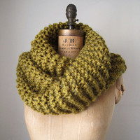 Super Snuggly chunky knit cowl Army Split Pea green by Happiknits