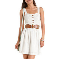 Belted Button-Front A-Line Dress: Charlotte Russe